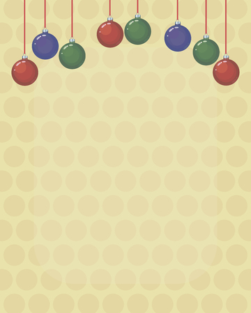 Christmas card background with colored red, green and blue glass Christmas-tree balls on long threads on a light yellow background.