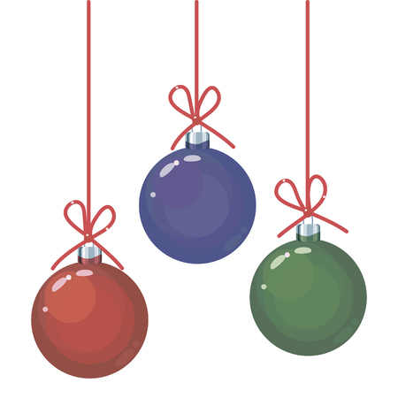 A set of three colored red, green and blue glass Christmas balls toys on red long threads with bows of objects isolated on a white background.