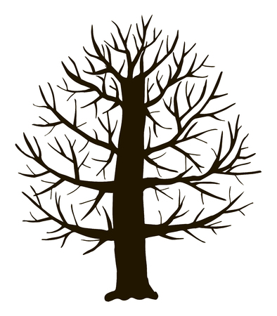 Black vector contour of deciduous simple thick branchy stylized tree without leaves object isolated on white background.