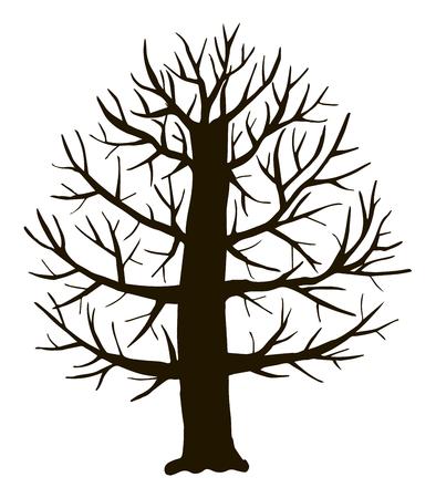 Czarny kontur wektorowy liściaste proste grube rozgałęzione drzewo stylizowane bez obiektu liści na białym tle.