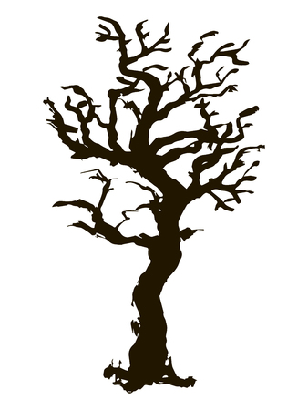 Black vector contour of a deciduous bent knotty branchy stylized tree without leaves object isolated on white background 向量圖像