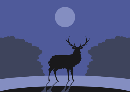 Black outline of a horned deer on a background of blue forest and the sky with the moon vector drawing. Ilustração