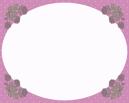 Retro frame with pink corners with a pattern and drawings of red roses with green leaves with white empty space vector card.