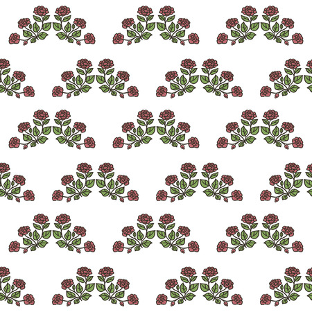 Retro seamless pattern with isolated drawings of roses with green leaves vector on a white background. Ilustração