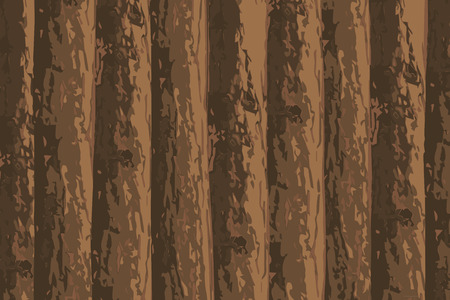 Brown vector pine tree wall forest background.