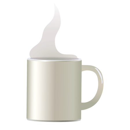 White light vector coffee mug for soup isolated object on white background simple with white translucent steam.