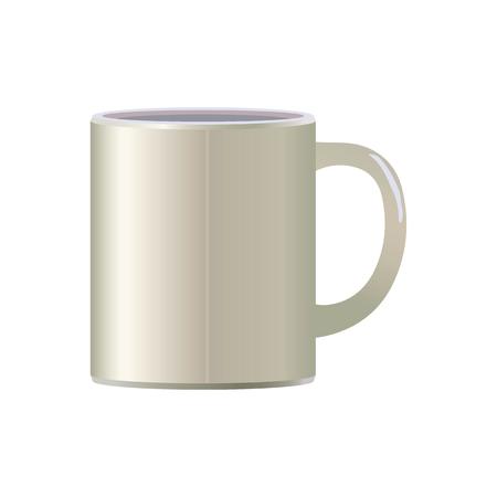 White light ceramic simple vector mug for tea tea soup isolated object on white background.
