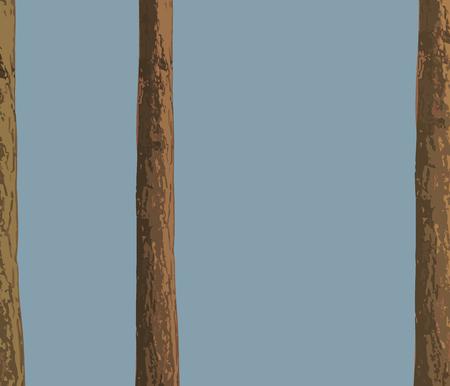 Three brown vector pine tree trunk on sky background background. Ilustração