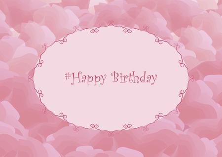 Pink simple horizontal vector postcard with rose petals, monograms and greetings.