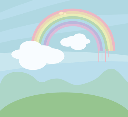 Colorful vector rainbow pattern on the background of blue sky with white clouds above the contour of the mountains and meadows colorful.