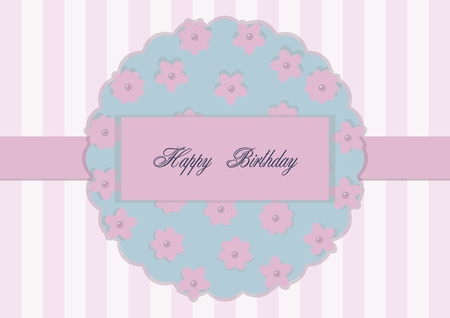 Greeting card on a pink flat background with a ribbon in the middle and a floral element with pearl centers, vector composition.