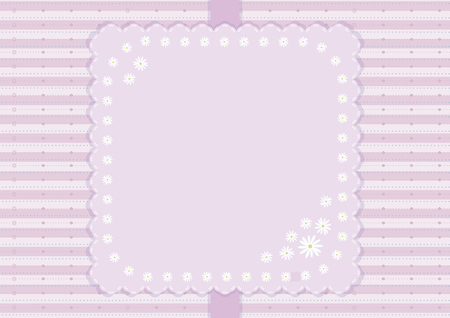 Pink striped vector card with ribbon and napkin with a floral pattern.