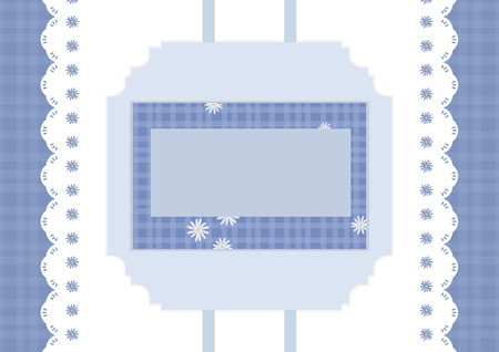 Blue striped vector card with ribbons and a checkered daisy napkin.