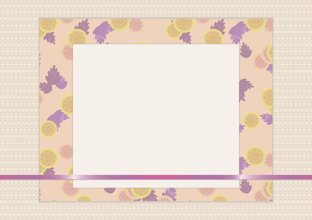 A discreet vector beige greeting card scrapbooking composition of sheets of paper with a thin purple shiny ribbon and a pattern in the form of fruits and leaves.