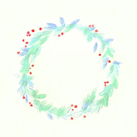 Square drawing watercolor turquoise wreath of leaves with bright red berries on the background of embossed watercolor paper. Banco de Imagens