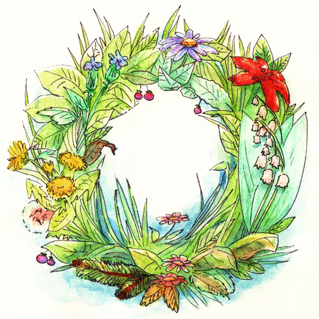 Green summer garden wreath with different colors, leaves, grass hand-drawn in watercolor with a black linear outline on the background of watercolor paper.