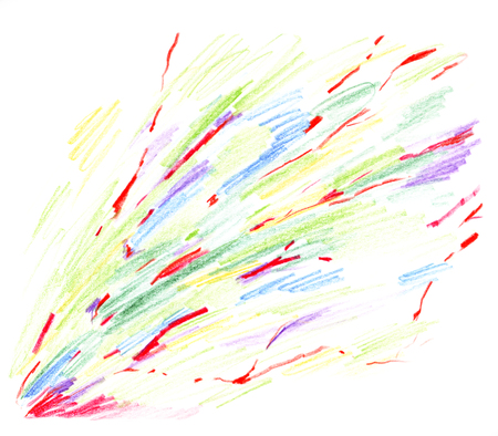 Abstract diagonal sloppy colored pattern with veins, drawn by hand with colored pencils isolated on a white background. Banco de Imagens