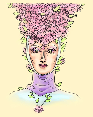Female head in a medieval headdress with a calm love look and flower petals on her head, beauty in a hat made of flowers pastel-colored pattern embossed on a yellow background. Banco de Imagens