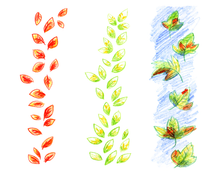 Green leaves simple pattern drawn by hand with colored pencils a bright set of items isolated on white background.