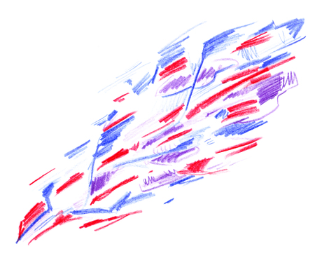 Abstract diagonal sloppy pattern with red and blue lines drawn by hand with pencils isolated on white background. Banco de Imagens