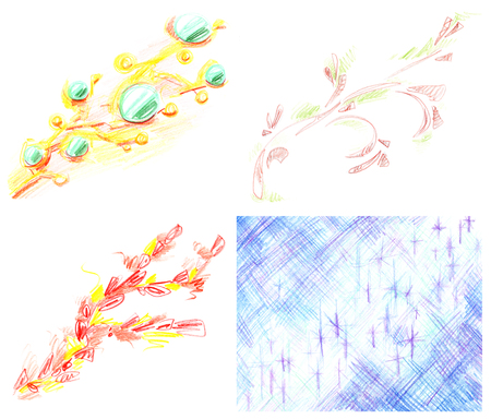 Set of abstract diagonal sloppy patterns, hand-drawn with colored pencils isolated on white background. Banco de Imagens