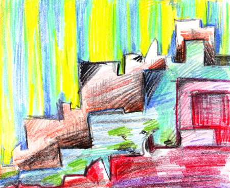 Abstract diagonal sloppy multicolored pattern with contrasting roofs of bright colored houses on a street of a city, drawn by hand with colored pencils isolated on a white background. Banco de Imagens