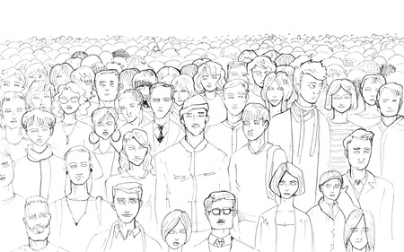 Black and white contour of a stand crowd of people drawing by hand with a liner on a white background with a blank area on top. Banco de Imagens