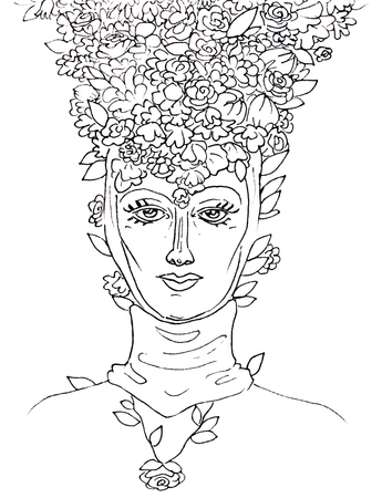 Female black and white head in a medieval headdress with a calm love look and flower petals on head, beauty in a hat made of flowers on a white background.
