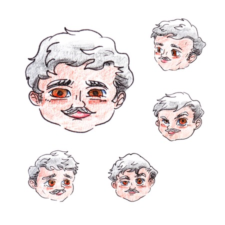 Set of objects the hand-decorated head of a cute smiling brown-eyed man with a mustache and gray curly hair isolated on a white background. Stok Fotoğraf