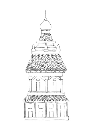 A squat tower in Russian oriental style with columns, tiles and a dome, hand-drawn by black lines outlines, scheme, drawing, sketch, isolated on a white background.