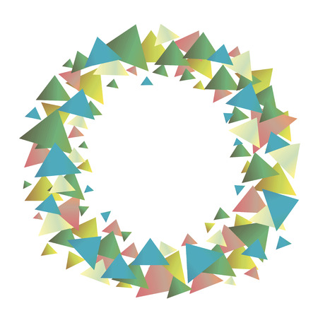 Multicolored positive graphic vector wreath of green blue red yellow gradient triangles isolated object on a white background.