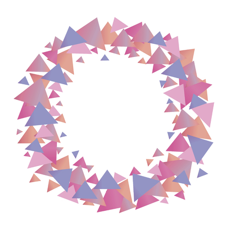 Multicolored positive cute graphic vector wreath of pink blue lilac gradient triangles of pastel shades isolated object on a white background.