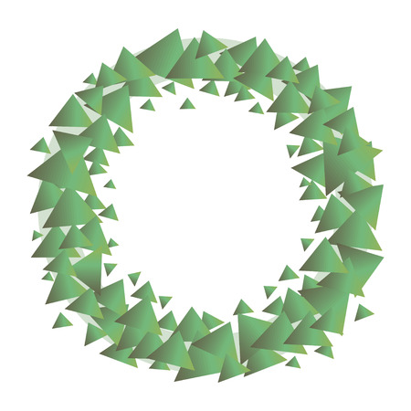 A green wreath of green gradient triangles with a light circle behind them an isolated object on a white background.