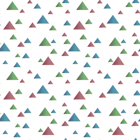 Seamless simple pattern with multicolored positive graphic vector gradient triangles isolated on white background. Ilustração