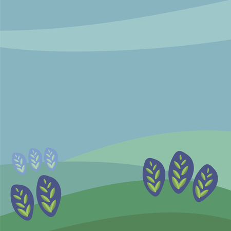 Vector square illustration drawing green gradient leaves of plants sprouts in ears against the background of the blue area grow on green hilly fields or meadows under a blue sky.