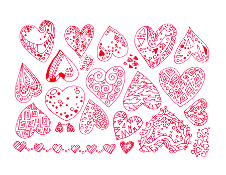 Hand-drawn color lines set of red intricate abstract hearts stickers with ornaments isolated on white background.