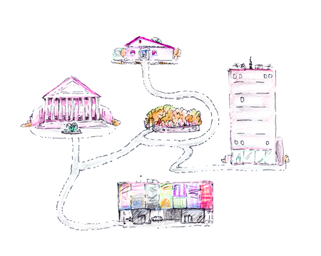 Drawn diagram of a path through the city with a house, theater, shop, park, illustration, isolated on a white background.