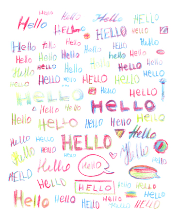 Set of multicolored hello inscriptions isolated on a white background, hand-drawn by colored pencil.