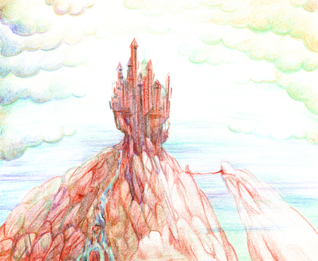 Illustration drawn by hand with colored pencils, with a medieval castle on top of an orange mountain of stones against the sky with clouds.