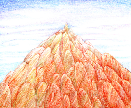 Illustration drawn by hand with colored pencils, a large pointed rock of orange rounded stones against a blue sky.