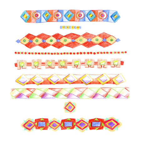 Stripes of multicolored ethnic ornaments hand-drawn with colored pencils with rhombuses and chains, isolated on white background. Banco de Imagens