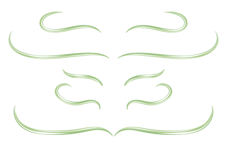Border separator of curls of green blades of grass isolated object on a white background. Illustration