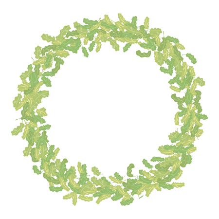 Round thick vector wreath of oak leaves of different shades isolated object on a white background.