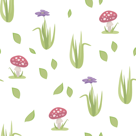 Vector stylized floral seamless pattern with red amanita mushrooms, grass and purple flower isolated on white background.