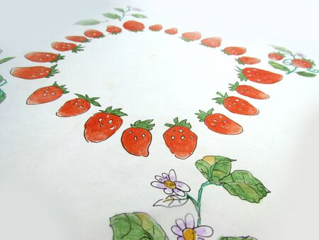 Slanted frame with a wreath of bright red strawberries, bunches and flowers.