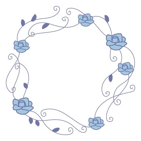 Ornate thin with curls of blue lines wreaths with blue roses isolated on white background.