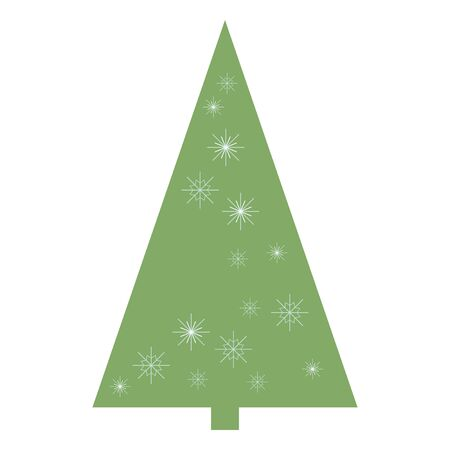 Vector isolated very simple green triangular christmas tree with snowflakes on a white.