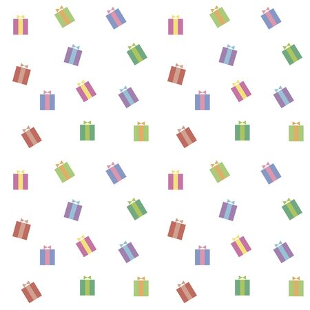 Seamless pattern of multi-colored vector Christmas gifts with ribbon and bow on a white background.