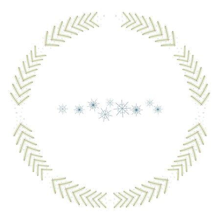Isolated simple christmas wreath of branches and snowflakes on a white background vector illustration. Imagens - 137236437