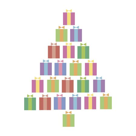 Vector christmas illustration with isolated christmas tree made of colorful multicolored color square gifts with ribbon and bow on a white background. Illusztráció